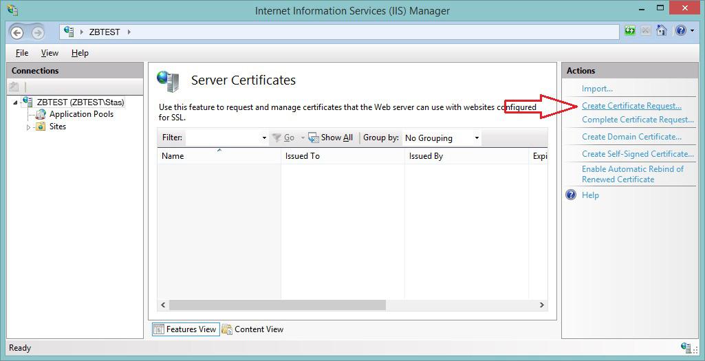 Generating a CSR code on IIS 8 - SSL Certificates - ztabox com